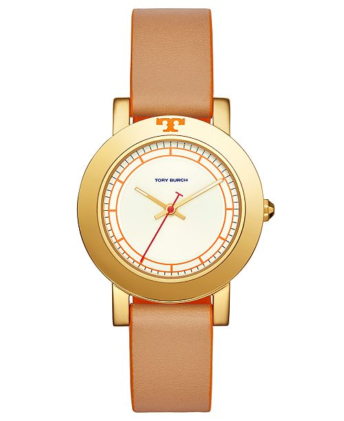 Tory Burch Womens Ellsworth Beige Leather Strap Watch 36mm