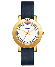 Tory Burch Women's Ellsworth Navy Leather Strap Watch 36mm