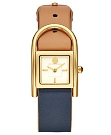 Women's Thayer Beige & Navy Leather Strap Watch 25x39mm