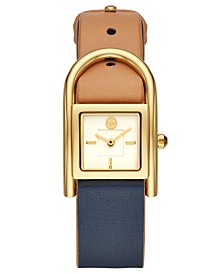 Tory Burch Women's Thayer Beige & Navy Leather Strap Watch 25x39mm