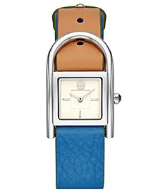 Women's Thayer Denim & Beige Leather Strap Watch 25x39mm