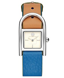 Tory Burch Women's Thayer Denim & Beige Leather Strap Watch 25x39mm