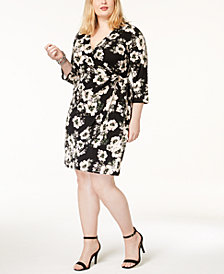 I.N.C Plus Size Printed Faux-Wrap Dress, Created for Macy's