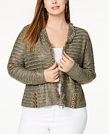 I.N.C. Plus Size Metallic Lace-Up Cardigan, Created for Macy's