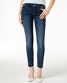 GUESS Studded-Side Skinny Jeans