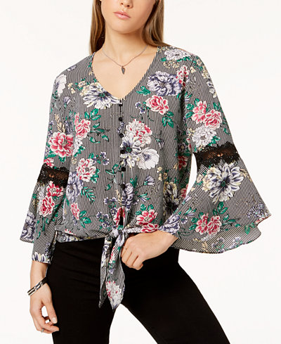 BCX Juniors' Printed Tie-Hem Top