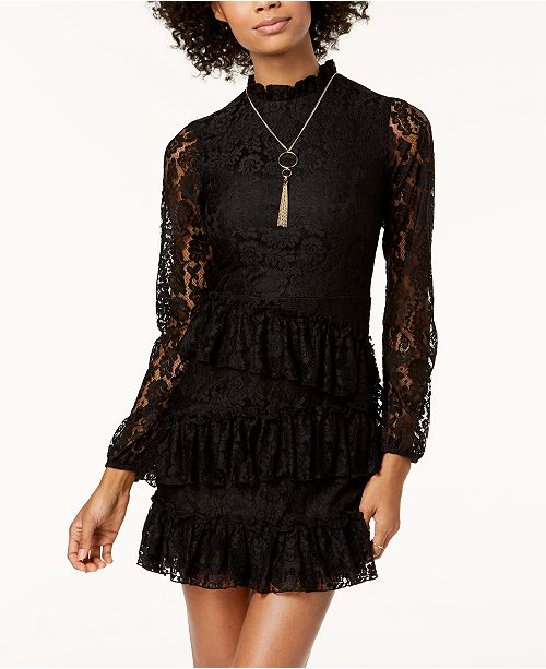 The Edit By Seventeen Juniors Ruffled Lace Dress Created