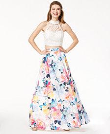 Trixxi Juniors' Lace Floral-Printed 2-Pc. Gown