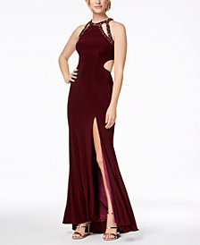 Betsy & Adam Embellished Cutout Contrast-Lined Gown
