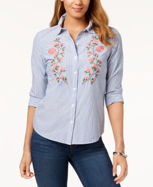 Karen Scott Embroidered Cotton Shirt, Created for Macy's thumbnail