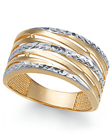 Textured Statement Ring in 14k Gold & White Gold