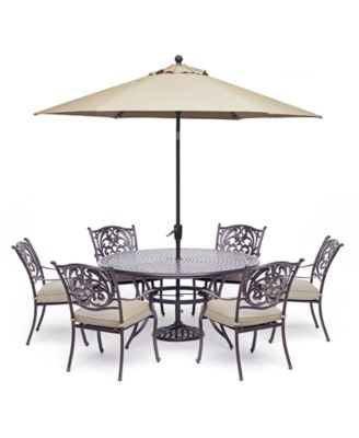 "Chateau Outdoor Aluminum 7-Pc. Set (60"" Round Dining Table & 6 Dining Chairs) with Sunbrella® Cushions, Created For Macy's"