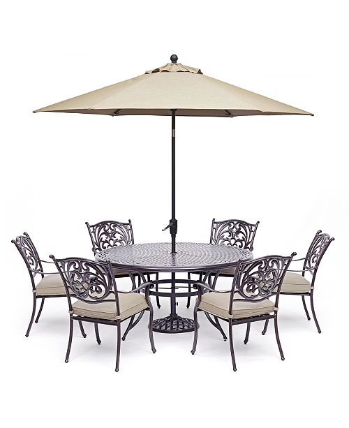 "Furniture Chateau Outdoor Aluminum 7-Pc. Set (60"" Round ..."