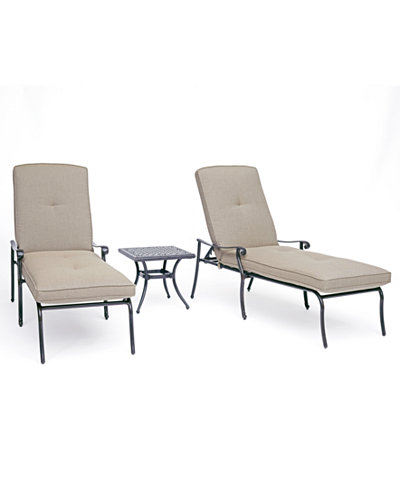 Chateau Outdoor Aluminum 3-Pc. Chaise Set (2 Chaise Lounge & 1 End Table) with Sunbrella® Cushions, Created For Macy's