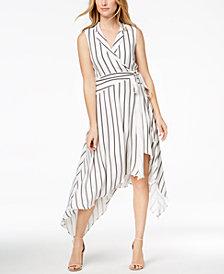 Bardot Striped Wrap High-Low Midi Dress