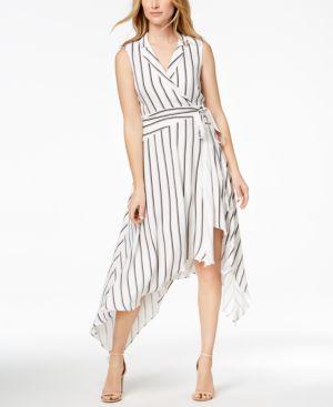 Bardot Striped Wrap High-Low Midi Dress 5695480