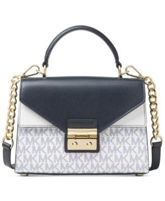 michael kors small signature sloan top handle satchel handbags rh macys com