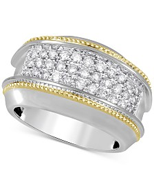 Men's Diamond Two-Tone Cluster Ring (1 ct. t.w.) in 10k Gold & White Gold