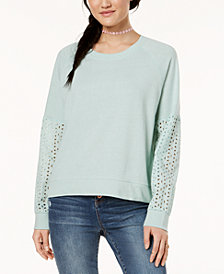 Hippie Rose Juniors' Eyelet-Contrast Sweatshirt