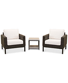 Fiji Aluminum Outdoor 3-Pc. Seating Set (2 Club Chairs & 1 End Table) with Sunbrella® Cushions, Created for Macy's