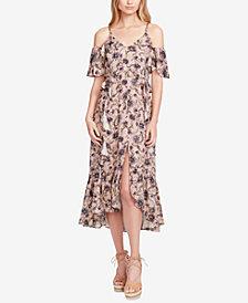 Jessica Simpson Juniors' Yasmin Printed Cold-Shoulder Midi Dress