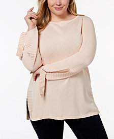 Style & Co Plus Size Ribbed-Trim Tunic Sweater, Created for Macy's