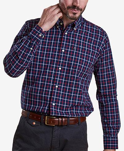 Barbour Men's Henry Navy Tattersall Check Oxford Shirt