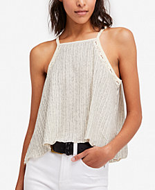 Free People Ana Crochet-Inset Tank Top