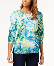 Alfred Dunner Petite Printed Turks & Caicos Lace-Trim Top