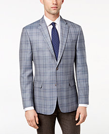 Tommy Hilfiger Men's Modern-Fit Baby Blue Plaid Silk and Wool Sport Coat