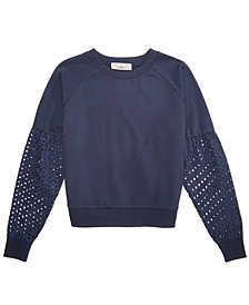 Pink Republic Eyelet-Sleeve Sweatshirt, Big Girls