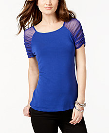 I.N.C. Petite Ruched Illusion-Sleeve Top, Created for Macy's