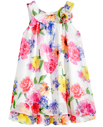 Blueberi Boulevard Floral-Print Chiffon Shift Dress, Little Girls