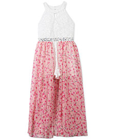 Speechless Glitter Lace Floral-Print Maxi Overlay Romper, Big Girls