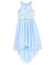 Sequin Hearts Sequin 3D Flower Hi-Low Dress, Big Girls
