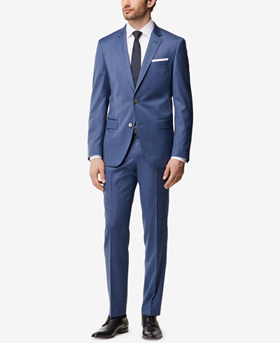 BOSS Men's Slim-Fit Nailhead Virgin Wool Suit