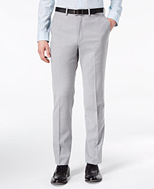 DKNY Men's Modern-Fit Stretch Gray Sharkskin Suit Pants