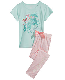 Max & Olivia Unicorn Graphic-Print Pajama Top & Pants Separates, Little Girls & Big Girls