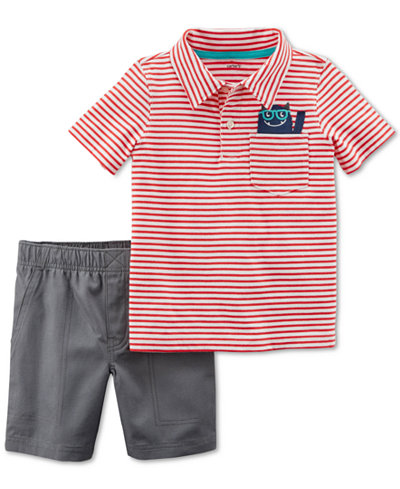 Carter's 2-Pc. Stripe Cotton Polo & Shorts Set, Toddler Boys
