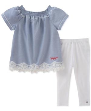 Tommy Hilfiger 2Pc LaceTrim Top  Leggings Set Little Girls