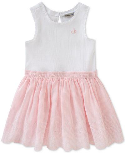 Calvin Klein Cotton Eyelet Chambray Dress, Toddler Girls