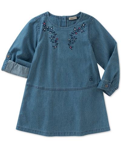 Calvin Klein Embroidered Cotton Denim Dress, Little Girls