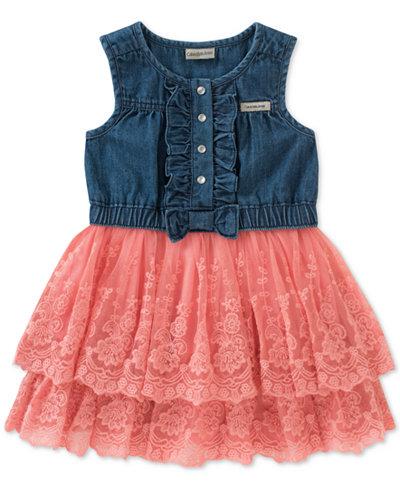 Calvin Klein Denim Tulle Dress, Little Girls