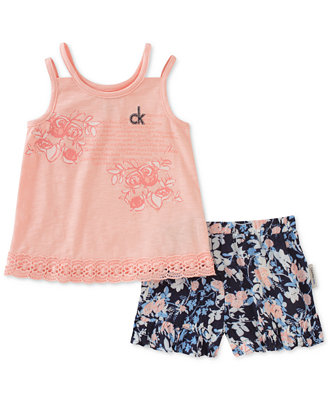 2 Pc. Top & Shorts Set, Toddler Girls by Calvin Klein