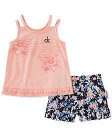 Calvin Klein 2-Pc. Tank Top & Printed Shorts Set, Little Girls