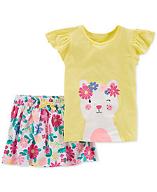 Carter's 2-Pc. Cat T-Shirt & Floral-Print Skirt Set, Toddler Girls