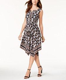 JM Collection Embellished Handkerchief-Hem Dress, Created for Macy's