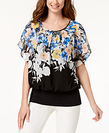 JM Collection Petite Printed Banded-Hem Top, Created for Macy's