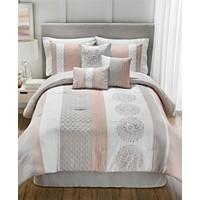 Hallmart Collectibles Crawford 7 Piece Queen Comforter Set (Blush/Taupe)