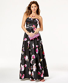 My Michelle Juniors' Printed Strapless Gown